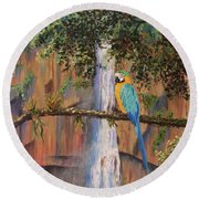 Blue Macaw Round Beach Towel
