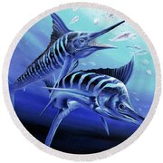 Blue Marlins Round Beach Towel