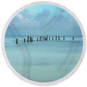 Blue Mayan Sea Round Beach Towel
