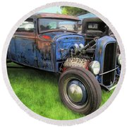 Blue Model A Ford Patina Rod Round Beach Towel