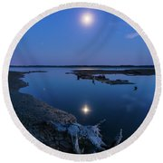 Round Beach Towel featuring the photograph Blue Moonlight by Davor Zerjav