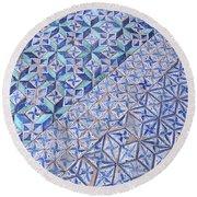 Blue Mosaic Round Beach Towel