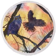 Blue Owl Round Beach Towel