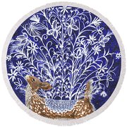 Blue Period Art Featuring A Fawn Round Beach Towel