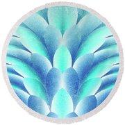 blue Petals Round Beach Towel