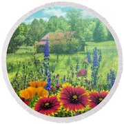 Blue Ridge Country Wildflowers On A Misty Morning Round Beach Towel
