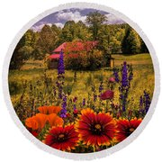 Blue Ridge Country Wildflowers On An Autumn Afternoon Round Beach Towel