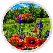 Blue Ridge Country Wildflowers Painting Round Beach Towel