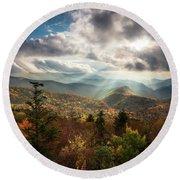 Blue Ridge Mountains Asheville Nc Scenic Autumn Landscape Photography Round Beach Towel
