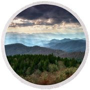 Blue Ridge Mountains Asheville Nc Scenic Light Rays Landscape Photography Round Beach Towel