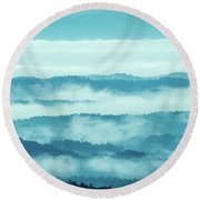 Blue Ridge Mountains Layers Upon Layers In Fog Round Beach Towel