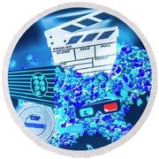 Blue Screen Entertainment Round Beach Towel