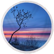 Blue Silence Round Beach Towel
