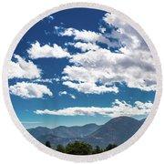 Blue Skies And Mountains II Round Beach Towel