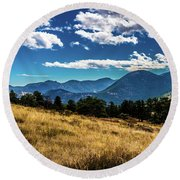 Blue Skies And Mountains Round Beach Towel