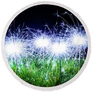 Round Beach Towel featuring the photograph Blue Sparklers In The Grass by Scott Lyons
