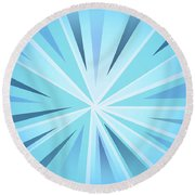 Blue Striped Lines Round Beach Towel