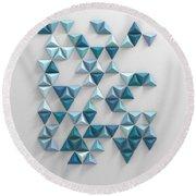 Blue Triangles Round Beach Towel
