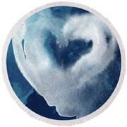 Blue Valentine- Art By Linda Woods Round Beach Towel
