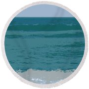 Round Beach Towel featuring the digital art Blue Waters And Waves by Michelle Calkins