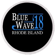 Blue Wave Rhode Island Vote Democrat 2018 Round Beach Towel