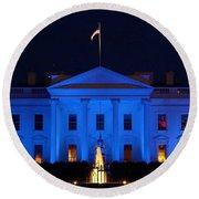Blue White House Round Beach Towel