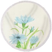 Blue Wildflowers Watercolor Round Beach Towel