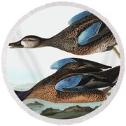 Blue Winged Teal, Anas Discors By Audubon Round Beach Towel