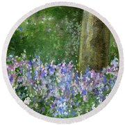 Bluebells Under The Trees Round Beach Towel