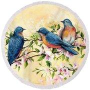 Bluebird Blossoms Round Beach Towel