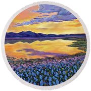 Bluebonnet Rhapsody Round Beach Towel