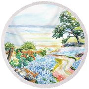 Round Beach Towel featuring the painting Bluebonnets - Texas Hill Country In Spring by Carlin Blahnik CarlinArtWatercolor