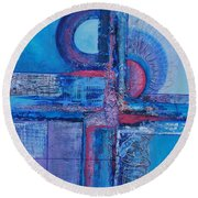 Blues With Purple Abstract Round Beach Towel