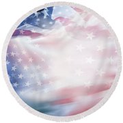 Blurred Usa Flag Round Beach Towel