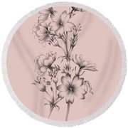 Blush Pink Flower Drawing II Round Beach Towel