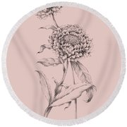 Blush Pink Flower Drawing IIi Round Beach Towel