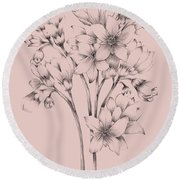 Blush Pink Flower Drawing Round Beach Towel