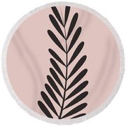 Blush Pink Leaf  Round Beach Towel