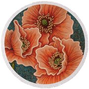 Round Beach Towel featuring the painting Blushing Gossips by Amy E Fraser