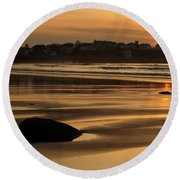 Boars Head Sunrise - Hampton Beach, New Hampshire Round Beach Towel