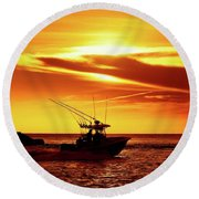 Boat Headed Out Of Jupiter Inlet Round Beach Towel