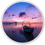 Boat Under The Sunset Round Beach Towel