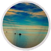 Boaters On The Sound Round Beach Towel