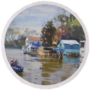 Boathouses At North Tonawanda Canal Round Beach Towel
