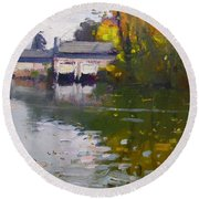 Boathouses In Fall Round Beach Towel