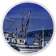 Boats At An Island Dock Round Beach Towel