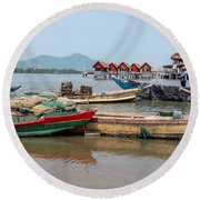Boats In Lang Co - Hue, Vietnam Round Beach Towel