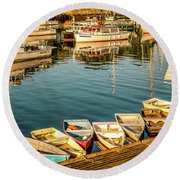 Boats In The Cove. Perkins Cove, Maine Round Beach Towel