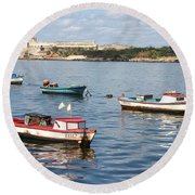 Round Beach Towel featuring the photograph Boats In The Harbor Havana Cuba 112605 by Rick Veldman