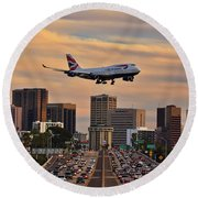 Boeing 747 Landing In San Diego Round Beach Towel